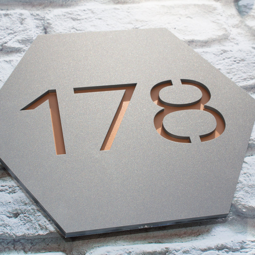 Contemporary Hexagonal Acrylic House Number Plaque