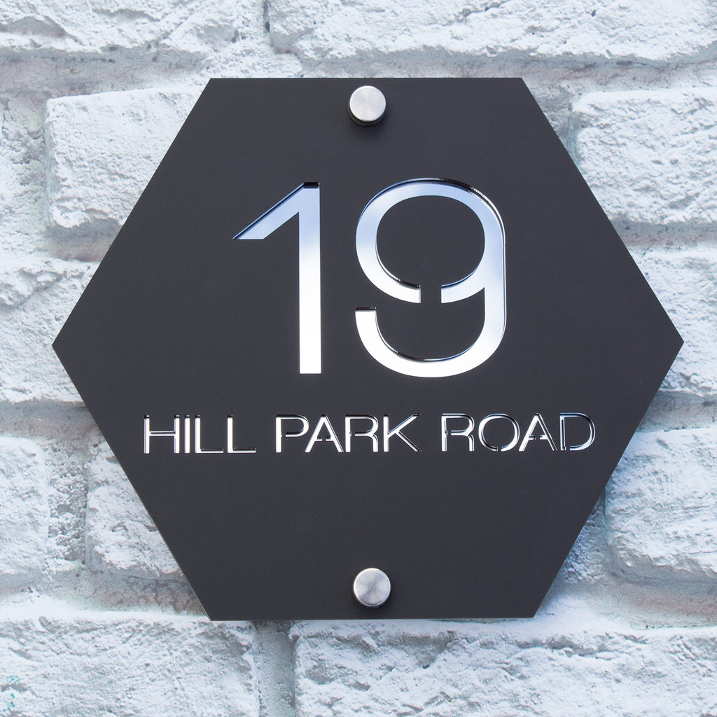 Large Contemporary Hexagonal Acrylic House Name Number Sign