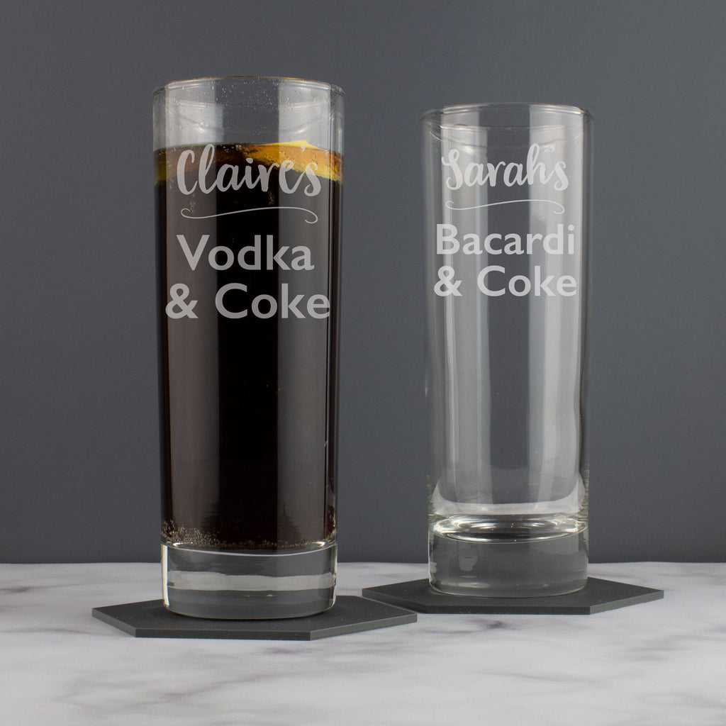 Personalised Vodka Rum Hiball Tumbler Glass