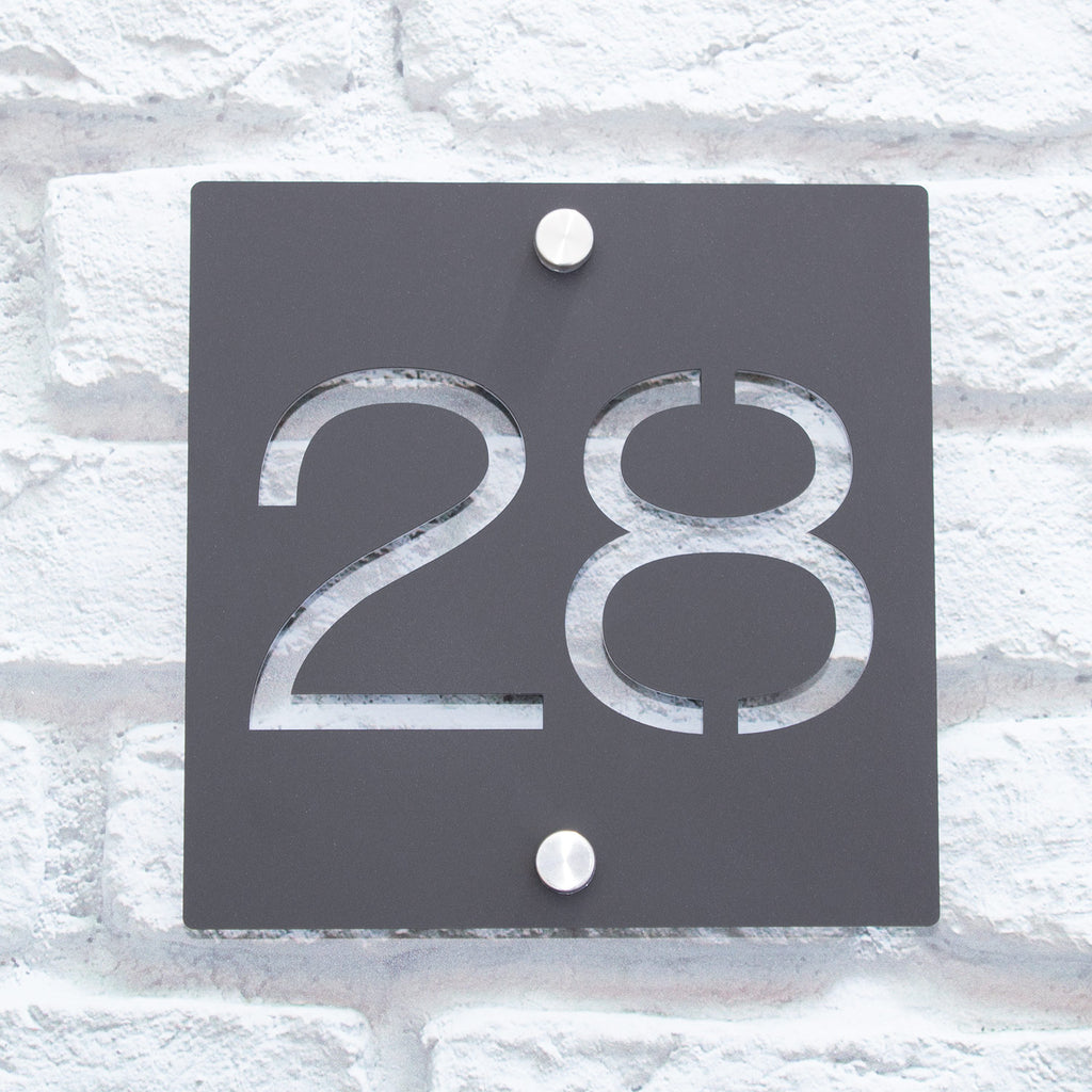 Contemporary Modern Acrylic Square House Number Sign