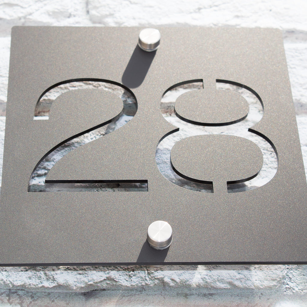 Modern Acrylic Square House Number Plaque
