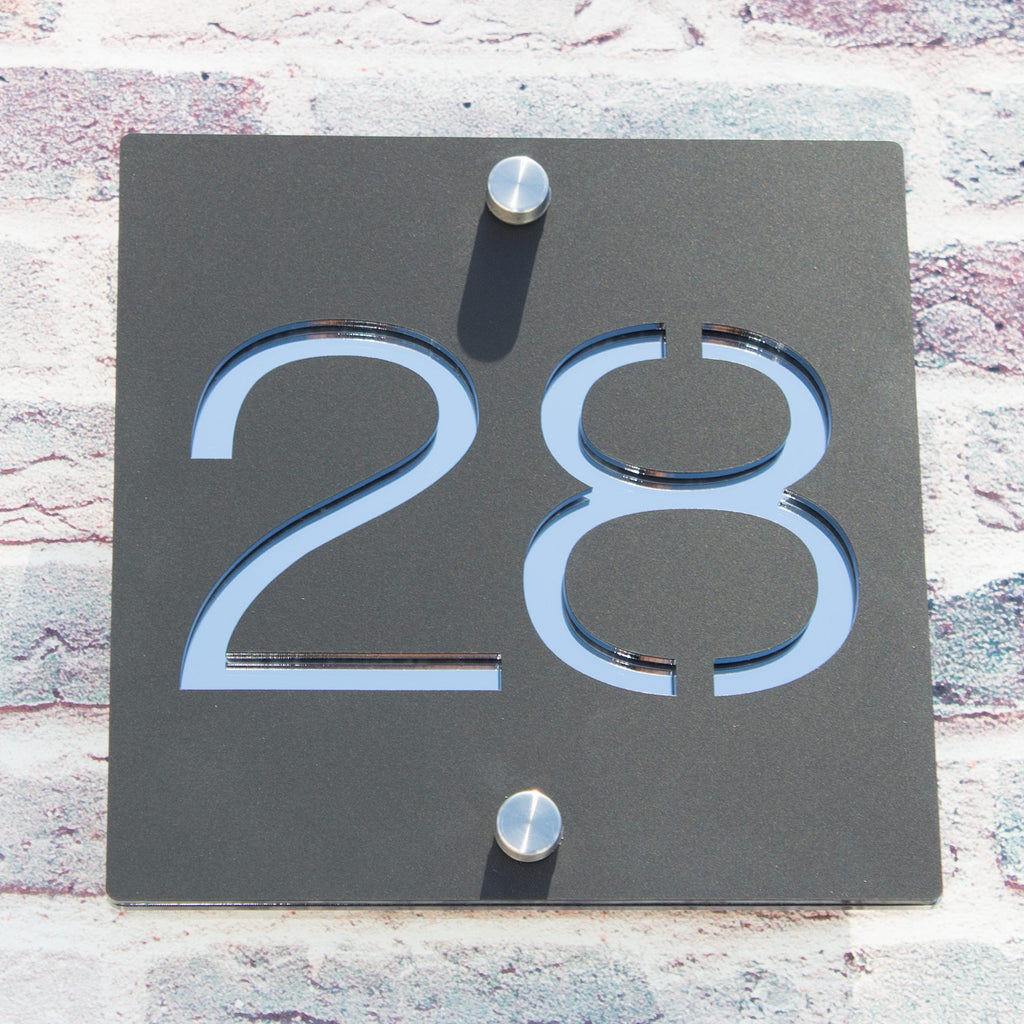 Contemporary Acrylic Square House Number Sign Two Colour 15x15cm