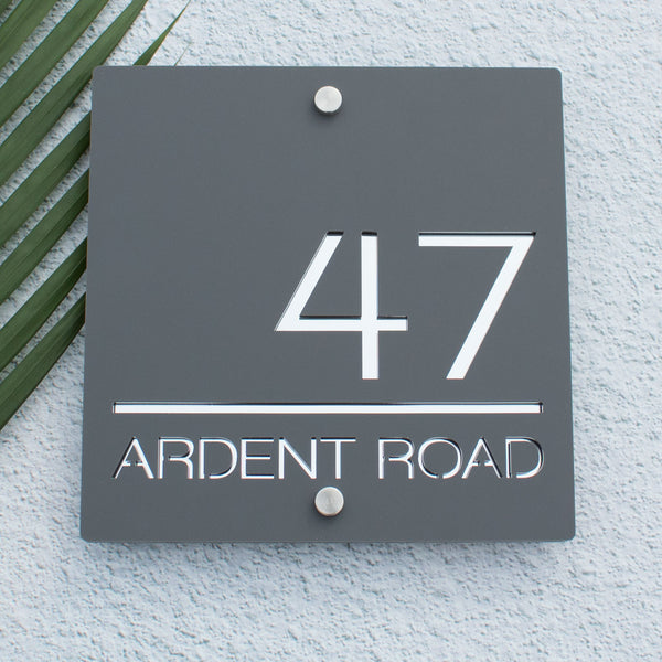 Contemporary Acrylic Large Square House Number Sign