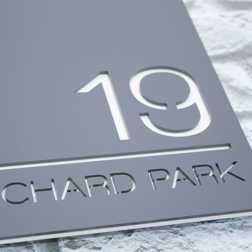 Square Floating Modern House Number Sign