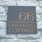 Dark Grey & Copper Contemporary House Name Sign
