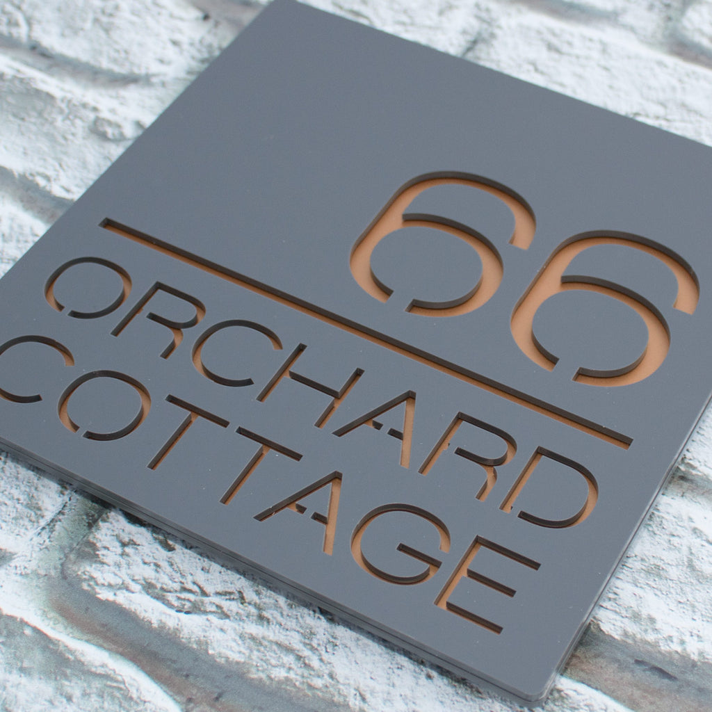 Modern Contemporary Acrylic House Number Sign Plaque