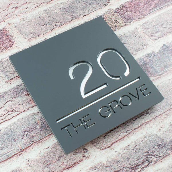 Contemporary House Number Sign Plaque Mineral Grey and Silver Mirror