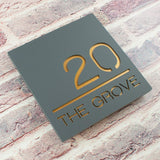 Modern Acrylic House Number Plaque Sign Mineral Grey and Copper