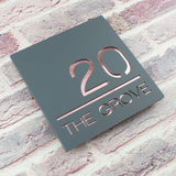 Contemporary House Number Sign Plaque Mineral Grey and Rose Gold
