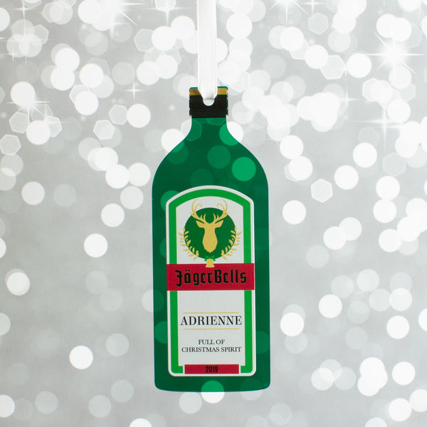 Personalised Jagermeister Bottle Christmas Gift Bauble Decoration