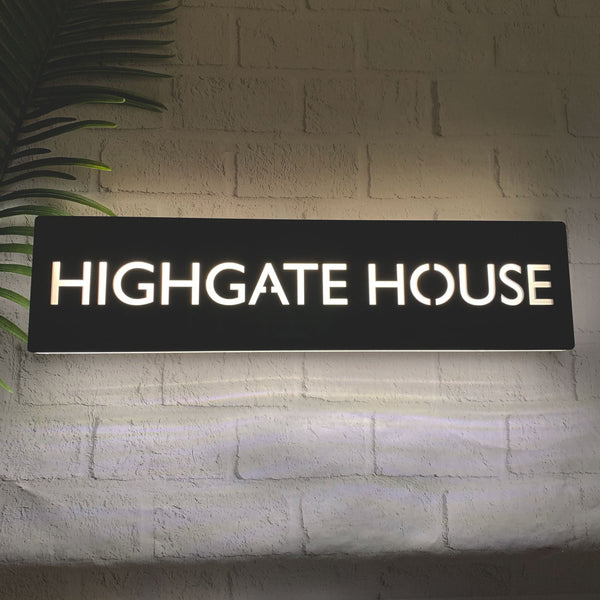 Modern LED Illuminated Rectangular House Name Sign