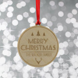 Merry Christmas Family Name Stag Decoration