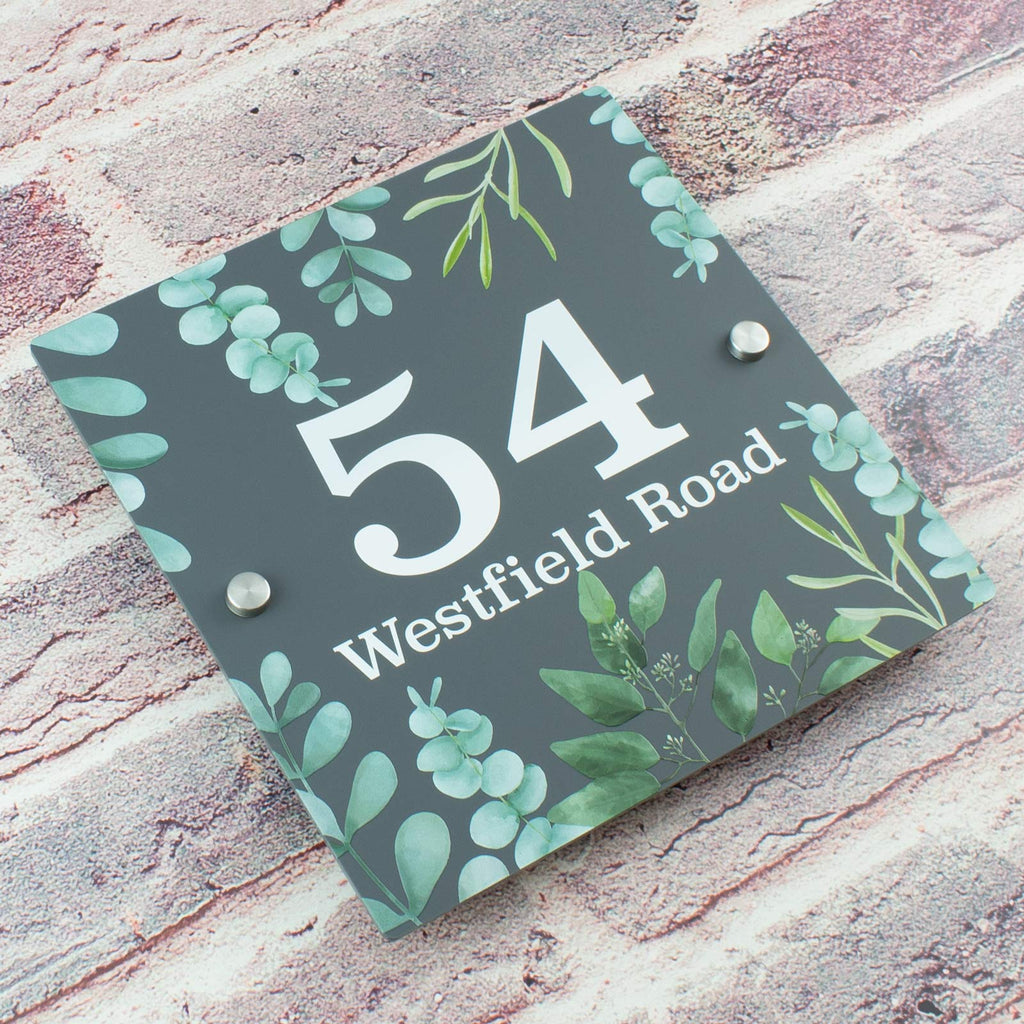 Contemporary Floral Greenery Graphite Grey Acrylic House Number Sign