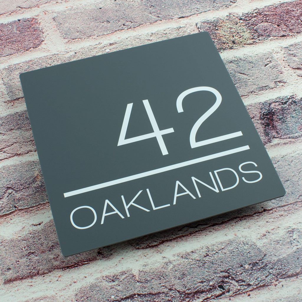 Modern Contemporary Floating Square Acrylic House Sign