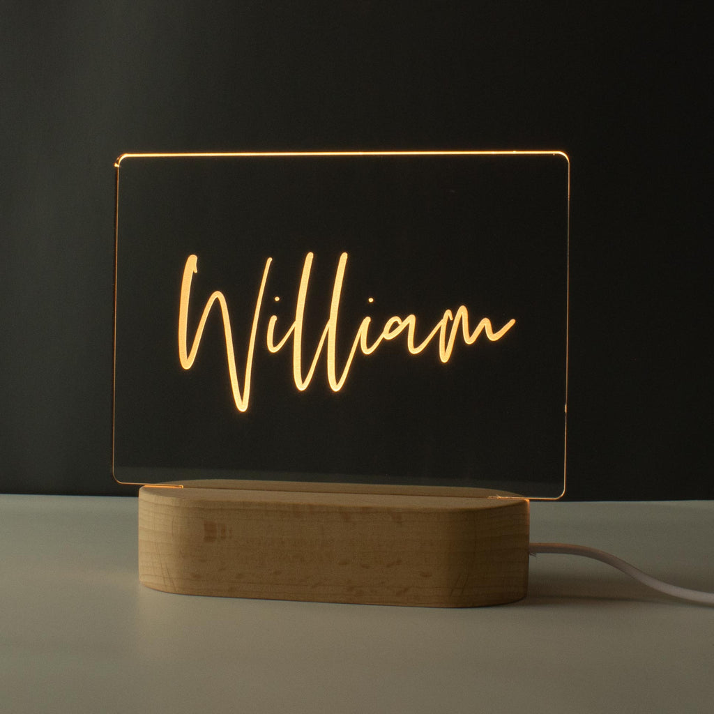 Personalised Name Children's Night Light - Nursery Lamp - Warm White