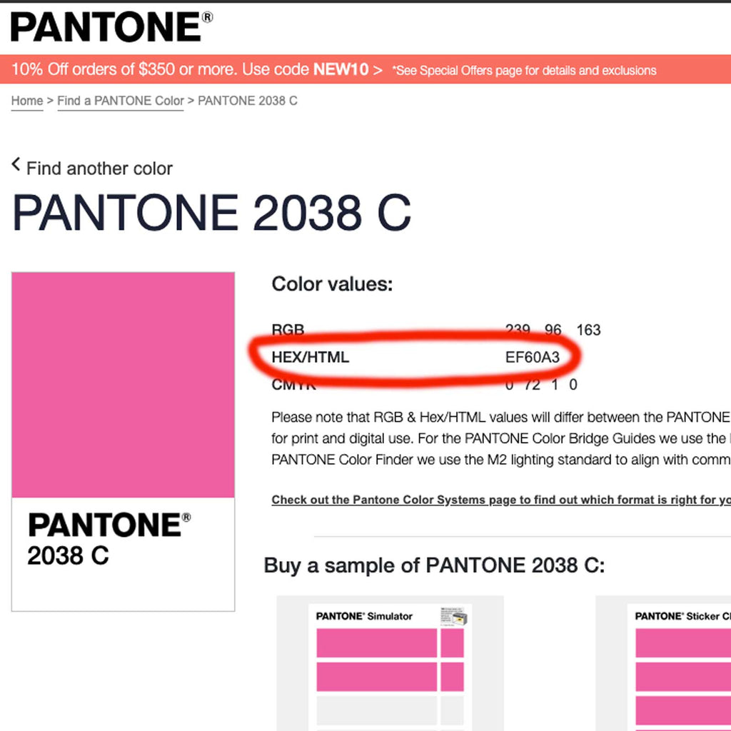 Select a colour from the Pantone Colour Site
