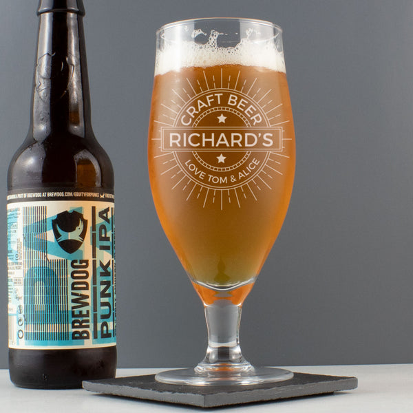 Personalised Craft Beer Stemmed Glass