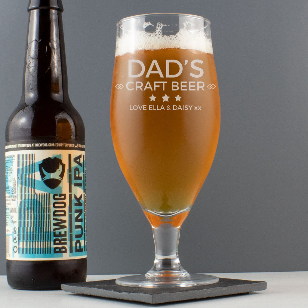Personalised Modern Craft Beer Stemmed Glass