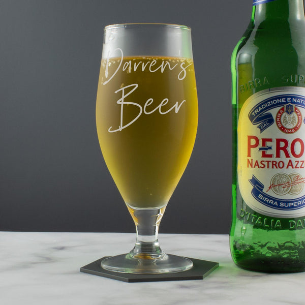 Personalised Handwritten Style Craft Beer/Cider Stemmed Glass