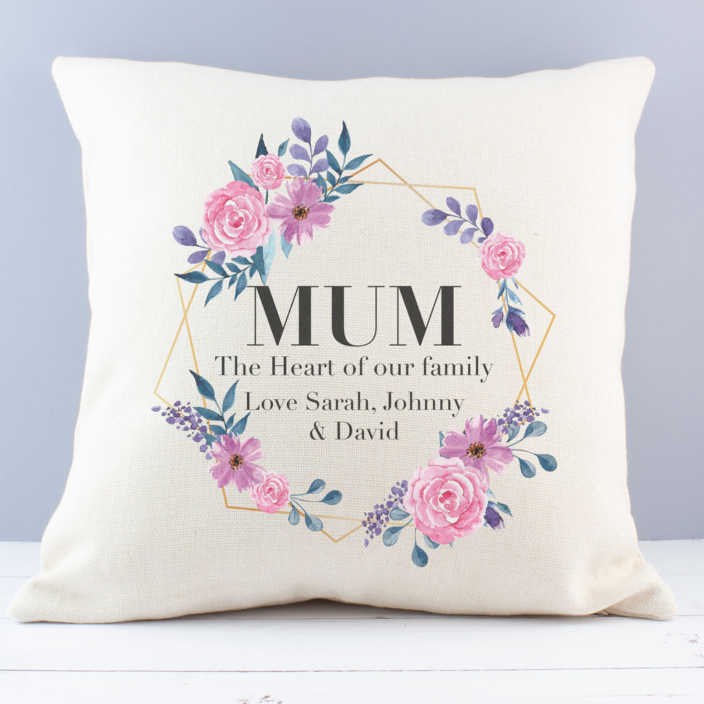 Personalised Mum Heart of our Family Floral Cushion