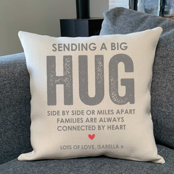 Personalised Sending a Big Hug Cushion Self-isolation
