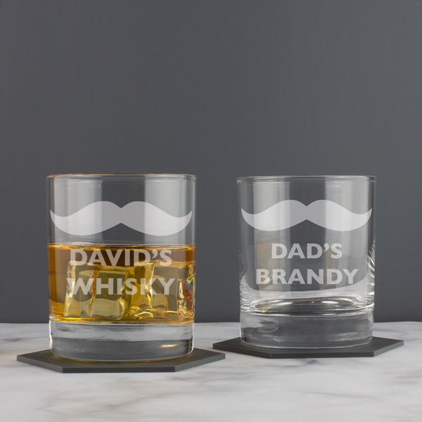Personalised Moustache Hipster Whisky Tumbler Glass