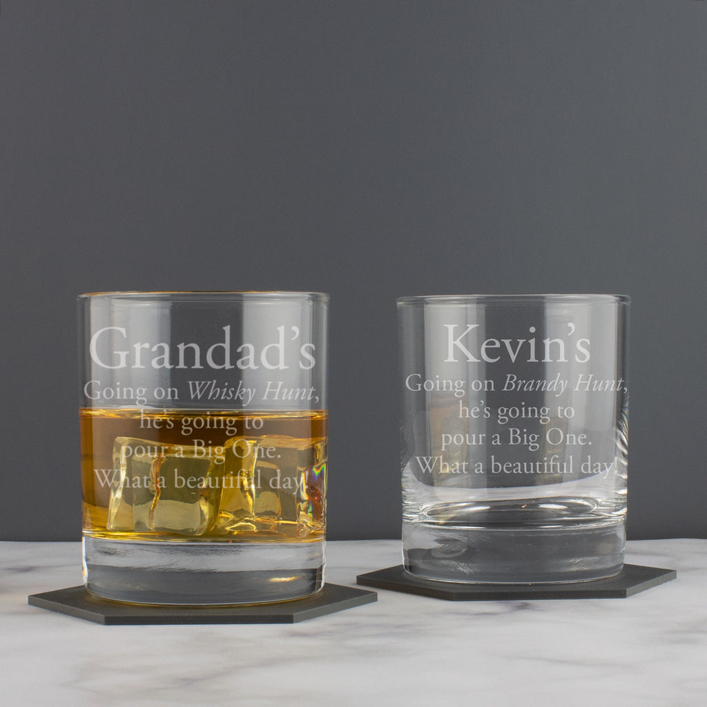 Personalised Going on a Whisky Hunt Tumbler Glass