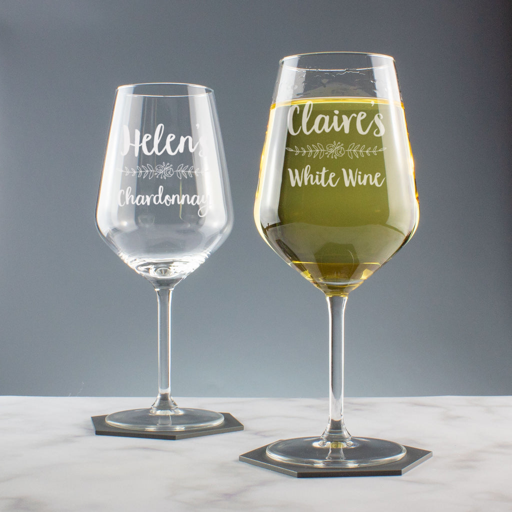Personalised Large Wine Glass Floral Flourish
