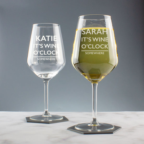 It's Wine O'Clock Somewhere Personalised Wine Glass