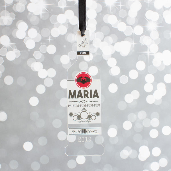 Personalised White Rum Bottle Christmas Gift Bauble Drink Decoration