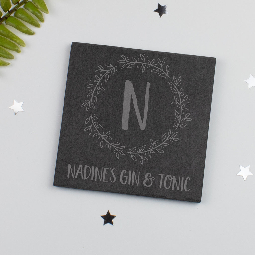 Personalised Name Drink Slate Coaster Floral