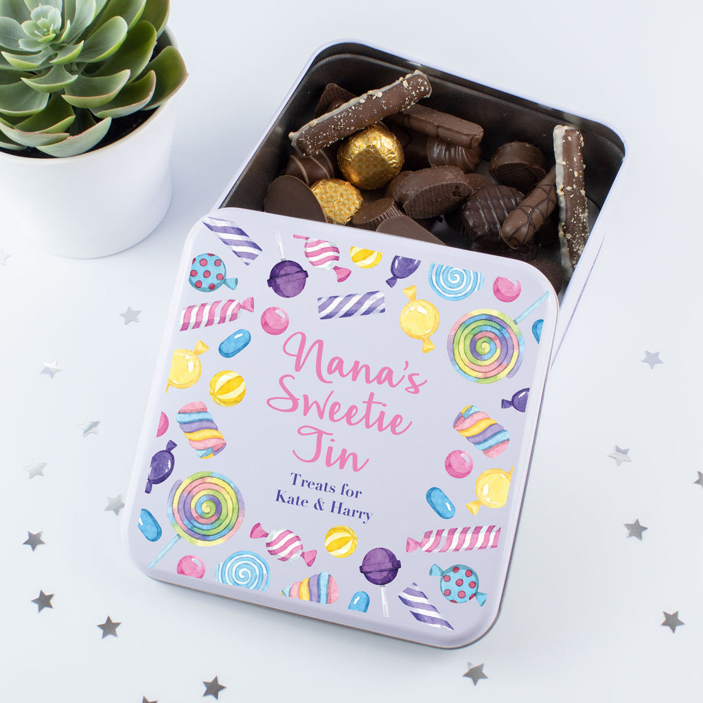 Personalised Colourful Sweetie Tin Box
