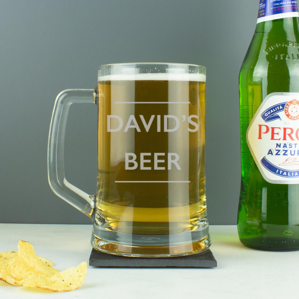 Personalised Name & Drink Tankard Beer Glass