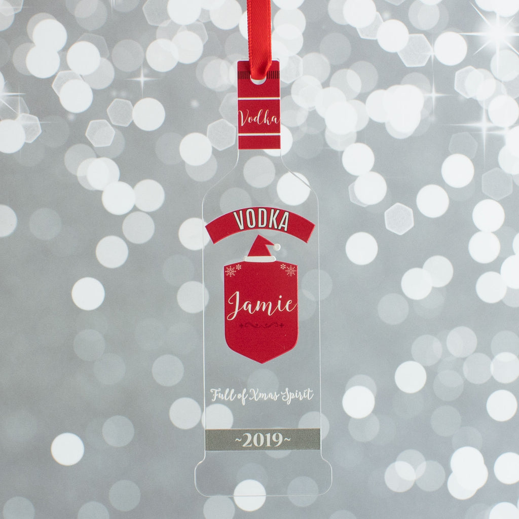 Personalised Vodka Bottle Christmas Gift Bauble Drink Decoration