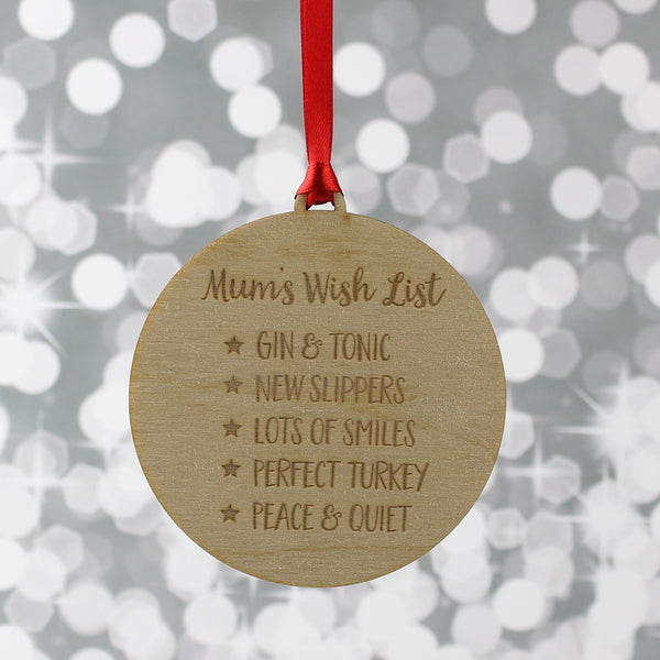 Personalised Wish List Christmas Decoration