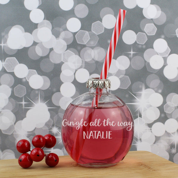 Personalised Christmas Drinking Bauble Gin Glass