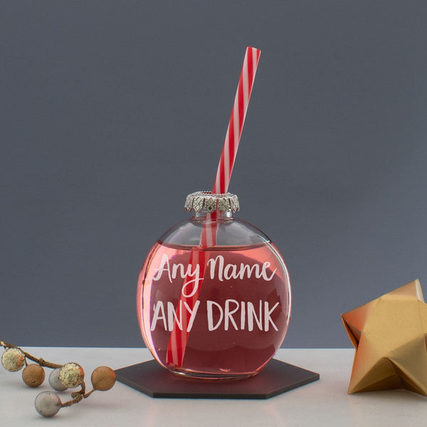 Personalised Christmas Bauble Glass - Any Name / Any Drink