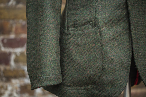 Olive Brown Shetland Tweed Barchetta Blazer