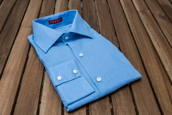 Washed Italian Mid Blue Linen Shirt