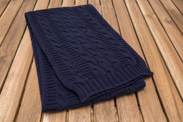 Cable Knit Scarf (Navy)
