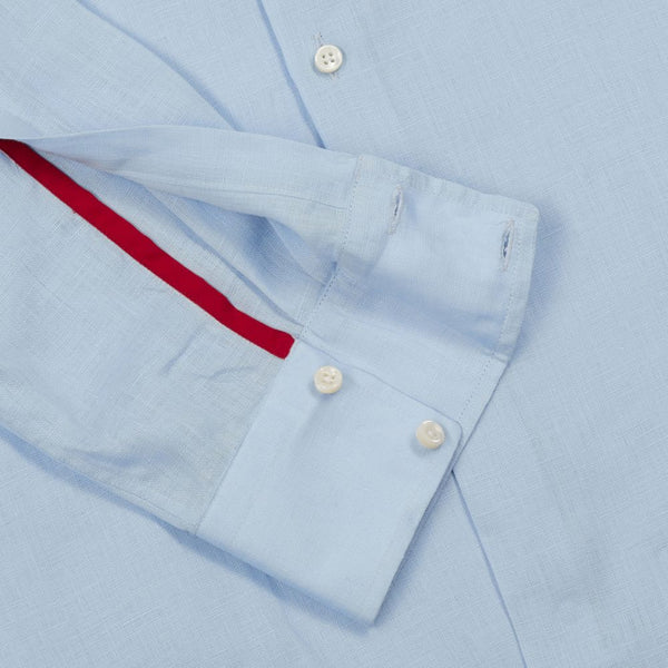 Washed Italian Pale Blue Linen Shirt