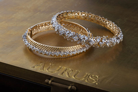 Diamond and gold bangles