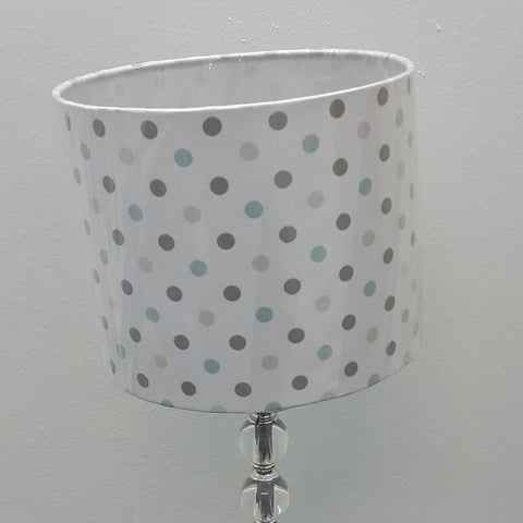 Blue & Grey Polka Lamp Shade