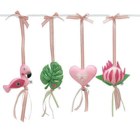 Fanciful Flamingo Felt Dingle Dangle Set