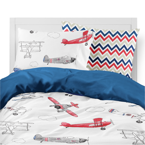 Red and Blue Air Show Kids Duvet Set