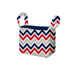 Chevron Red Blue Navy Fabric Storage Bin
