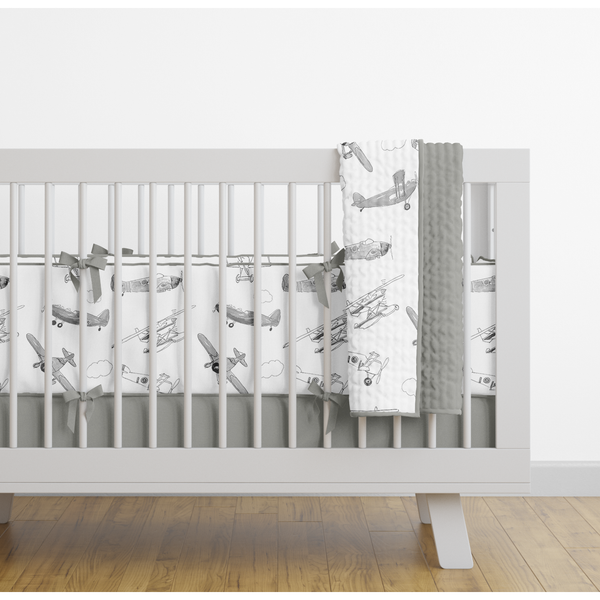 Grey Air Show Padded Cot Bumper