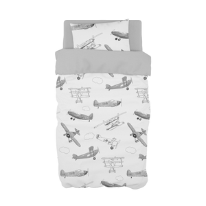 Grey Air Show Cot Duvet Set