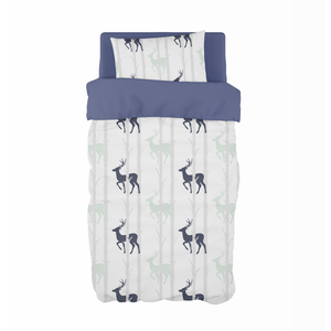 Navy and Mint Birch Stags Cot Duvet Set