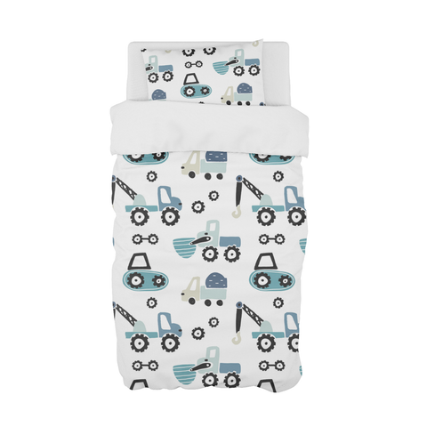 Blue Diggers and Dozers Cot Duvet Set